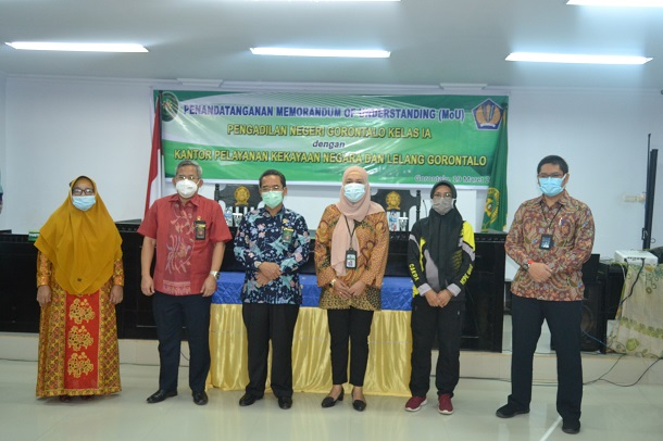 Penandatanganan Nota Kesepahaman (Mou) antara Pengadilan Negeri Gorontalo dengan Kantor Pelayanan Kekayaan dan Lelang Gorontalo