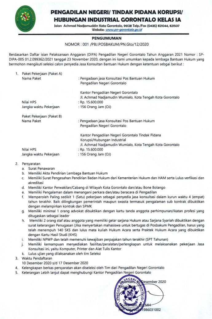 Pengumuman seleksi calon penyedia Jasa Posbakum TA 2021